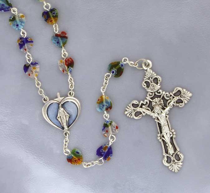 Multi Colored Heart Rosary
