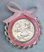 Salerni Sterling Crib Medal-Pink