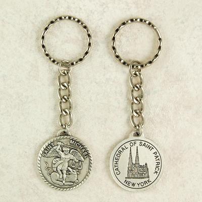 Saint Michael Religious Engravable Keychain